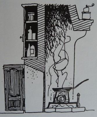 Doc. 4 Croquis en coupe de l'âtre et du conduit de chaleur qui alimentait naguère la belle pièce (croquis publié en 1991 dans l'ouvrage «Les hommes et la forêt en Lorraine», Paris, Bonneton, p. 155)