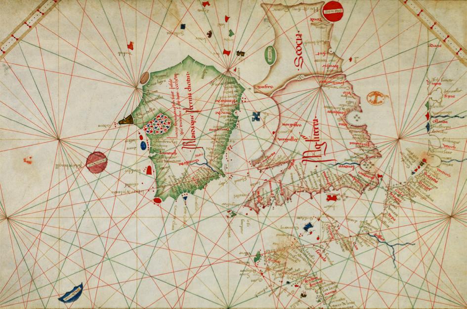 Carte des îles Britanniques, de la France et de la péninsule ibérique (détail) Grazioso Benincasa, Rome, 1467. «Dans un contexte d'essor du commerce maritime, une nouvelle représentation cartographique, résultat de l'observation des marins, se répand au XIVe  siècle depuis l'Italie. Ce sont les «portulans», terme qui désigne au départ des recueils de textes décrivant les côtes et les ports, puis qui s'applique aux cartes nautiques sur parchemin avec l'indication des îles, abris et amers pour reconnaître un rivage. En toile de fond se développe un réseau de lignes géométriques appelé «marteloire», différent du quadrillage des parallèles et des méridiens. Issues des roses des vents, ces lignes de rhumbs ne servent pas à mesurer les distances, mais indiquent aux marins les angles de routes pour se diriger grâce à l'usage de l'aiguille aimantée de la toute nouvelle boussole. L'auteur de cette carte, ancien patron de navire, a signé un grand nombre d'atlas et de cartes réalisées à Venise et à Rome dans la deuxième moitié du XVe siècle. Ces cartes représentent la mer Méditerranée et la mer Noire, mais aussi les côtes et les îles de l'océan Atlantique, de l'Angleterre, présentée ici, jusqu'aux rivages de l'Afrique récemment explorés par les Portugais (îles du Cap-Vert).» Source: Exposition virtuelle L'âge d'or des cartes marines. Quand l'Europe découvrait le Monde, page «Visite guidée», site de la BnF, 2012.