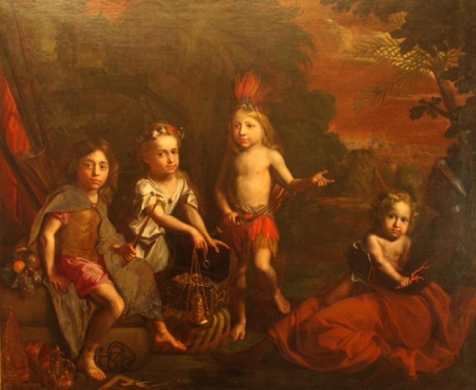« Les quatre parties du Monde » Grégor Brandmuller, 1682, Musée du Nouveau Monde, La Rochelle.