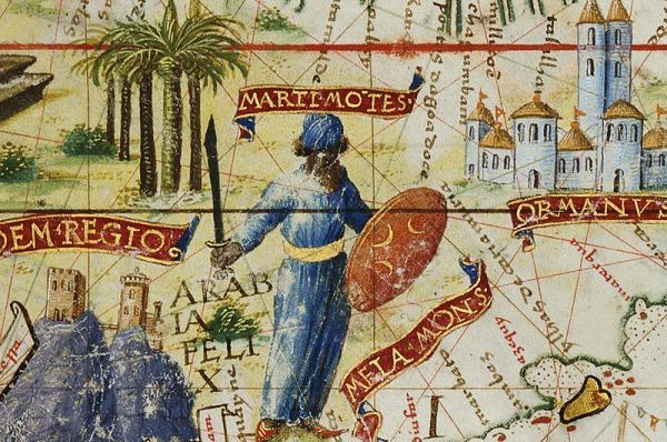Guerrier d'ArabieExtrait de l'Atlas Miller, œuvre de Lopo Homen, Portugal, 1519.«Au début du XVIesiècle, les Portugais tentent de s'introduire de force dans le riche marché des épices contrôlé par les Arabes. Ils s'emparent d'Aden en 1513. Entre Aden et Ormuz, près de la côte de l'actuel Yémen, le peintre de l'Atlas Miller a représenté un guerrier arabe surveillant la route du Golfe Persique. Il est habillé d'une robe orientale, brandit d'une main un cimeterre, de l'autre un bouclier décoré de quatre croissants.»Source: Exposition virtuelleL'âge d'or des cartes marines. Quand l'Europe découvrait le Monde, Article de Zoltán Biedermann, «Cartographie nautique et cartographie humaniste de l'océan Indien XVIeet XVIIesiècles», site de la BnF, 2012.