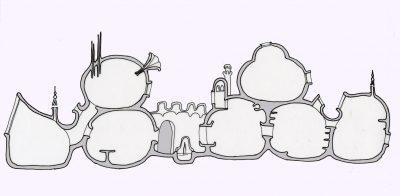 « Annette Tison et Talus Taylor, La maison de Barbapapa, 1972 » Source : Christophe Meunier, « La maison de Barbapapa, Poutchy-Blue et les autres… La géographie des espaces domestiques dans les albums pour enfants », Cafés géographiques, rubrique Vox geographi, 9 juillet 2012