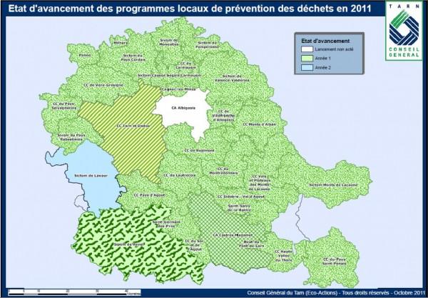 Carte Tarn - Programmes locaux de prévention des déchets 2011