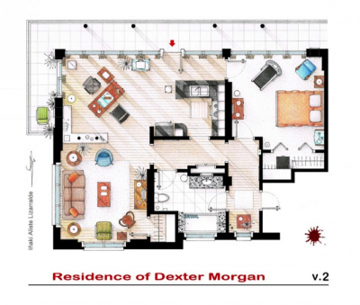 Plan de l'appartement de Dexter Morgan (©Iñaki AlisteLizarralde) Source : « Des plans d'appartements de films et séries », La boîte verte, 4 mars 2013.