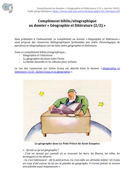 Complément biblio/sitographique au dossier « Géographie et littérature (2/2) » (format PDF, 930 Ko)
