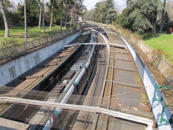La ligne de Sceaux dans le parc du Montsouris