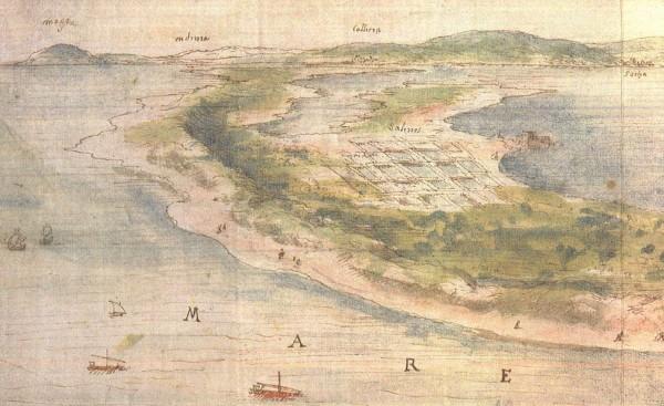Fig.2 : Vue de la Albufera de Valencia… par Anton van der Wyngaerde, 1563. détail de la figure 1: le double cordon littoral de la lagune vers le sud (Cullera) et les salines de l'Albufera