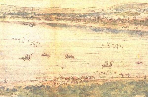 Fig.3 : Vue de la Albufera de Valencia …par Anton van der Wyngaerde, 1563.Détail de la figure 1: la Albufera et le cordon littoral de la Dehesa (« devega »)