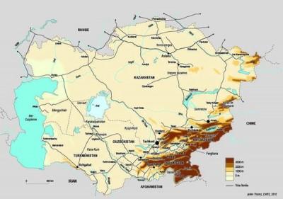 L'Asie centrale, carte Julien Thorez