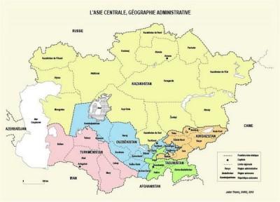 L'Asie centrale, géographie administrative, carte Julien Thorez