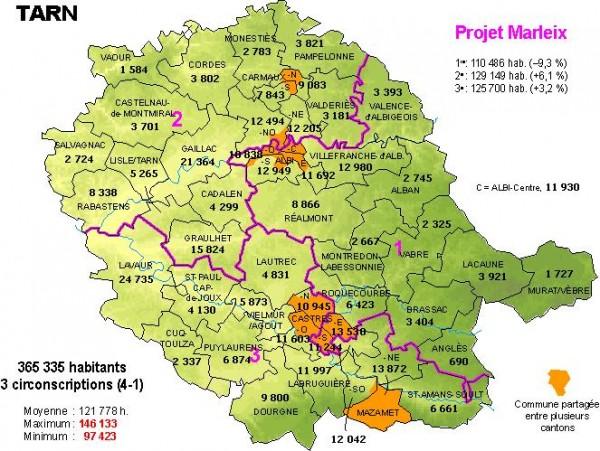 Les 3 circonscriptions du Tarn du projet Marleix.