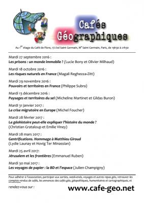 Télécharger le programme des Cafés Géo de Paris 2016-2017 (PDF)