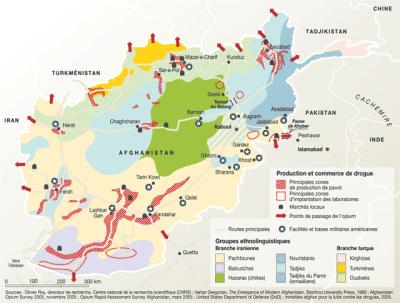 « L'Afghanistan, un pays fragmenté » Source : Philippe Rekacewicz, L'Atlas du Monde diplomatique, août 2009.