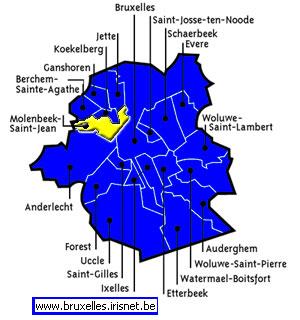 Les 19 communes de l'agglomération de Bruxelles