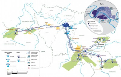 L'alimentation en eau de Paris (source: Eau de Paris).  Pour agrandir la carte