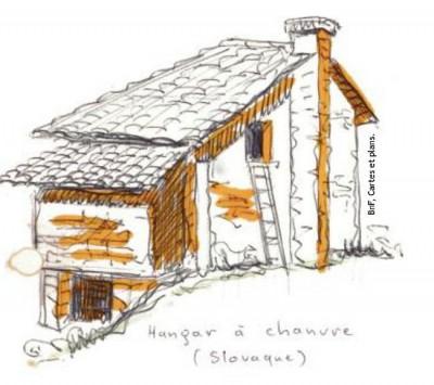 Un dessin de l'exposition parmi de nombreux autres (un exemple d'architecture rurale en Slovaquie)