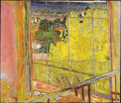 L'atelier au mimosa, hiver 1939-octobre 1946 (Paris, Musée national d'Art moderne, Centre Pompidou).Sous l'effet d'un télescopage presque féérique, il n'y a plus d'intérieur et d'extérieur, le jaune éclatant des fleurs illumine la verrière tel un rayon de soleil qui filtre à travers un vitrail.