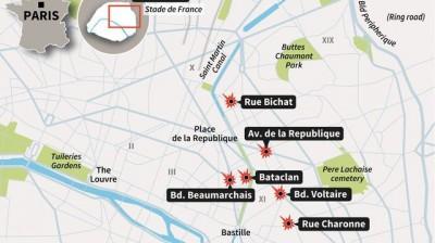 Les lieux des attentats à Paris vendredi 13 novembre (www.lexpress.fr)