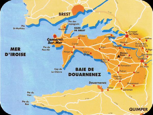 Le bourg du Faou dans son environnement géographique