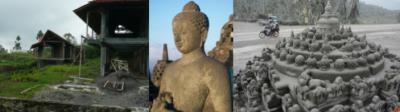 Photo de gauche: utilisation des matériaux du lahar pour la construction d'habitations – Photo du centre: bouddha du temple de Borobudur – Photo de droite: reproduction miniature du temple de Borobudur (sources: presse locale)