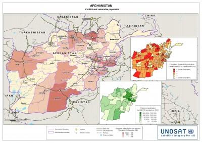 « Les conséquences des conflits afghans et la vulnérabilité des populations » Source : UNOSAT, reproduit dans Marie-Sophie Bock-Digne, « De l'utilité des images satellites et de la cartographie pour les interventions humanitaires », Planète Vivante, 26 octobre 2009.