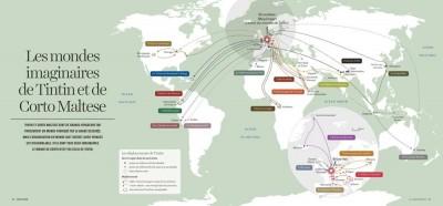 Carte des déplacements de Tintin extraite de L'Atlas global (dir. C. Grataloup et G. Fumey, Editions des Arènes, 2014)