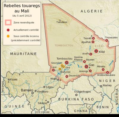 Carte des rebelles touaregs au Mali