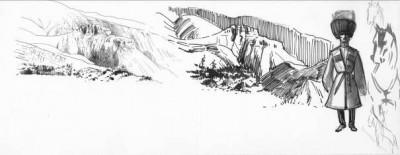 Fig.2 : La corniche basaltique de Iankala-Akhis, dans les monts Urts, en deux expressions graphiques. Elle est formée de grès calcaires rouges sur marnes grises. Croquis d'un guide de l'expédition et esquisse de cheval. Dessins à la plume rehaussé d'encre au pinceau. Pierre Bonnet 1911. ©Bibliothèque Nubar-Paris