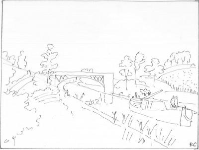 Croquis schématique de l'auteur d'après Raoul Dufy: Le canal de la Marne à la Saône (1936, encre de chine sur papier, 50 x 66 cm, Paris, galerie Aitouarès)