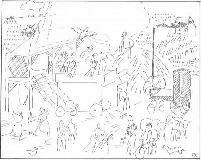 Croquis schématique de l'auteur d'après Raoul Dufy: Dépiquage (1953, huile sur toile, 129 x 161cm, Centre Pompidou, Paris)