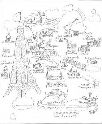 Croquis schématique de l'auteur d'après Raoul Dufy: Paris, (1934, Tapisserie d'Aubusson, Paris, musée national d'Art moderne