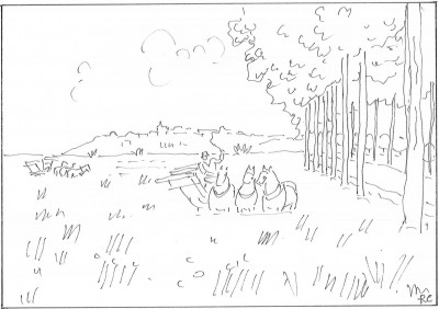 Croquis schématique de l'auteur d'après Raoul Dufy, La route bleue (1935, huile sur toile, 46 x 65,5cm, Musée d'Art moderne de la ville de Paris)