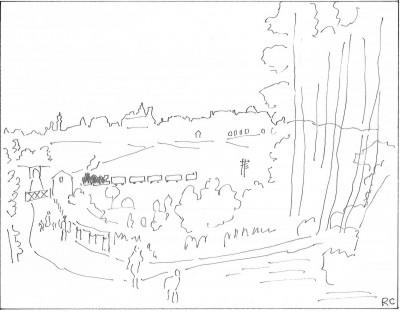 Croquis schématique de l'auteur d'après Raoul Dufy: Paysage de Langres ( 1936, encre de chine sur papier, 50 x 66 cm, Paris, galerie Fanny Guillon-Lafaille)