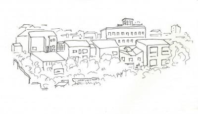 4 - Sur les collines aux pentes raides (cerro), des quartiers denses et souvent délabrés. (Croquis par Charles Le Coeur, novembre 2013)