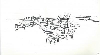1 -Une vue du Cerro Concepción vers le port. (Croquis par Charles Le Coeur, novembre 2013)