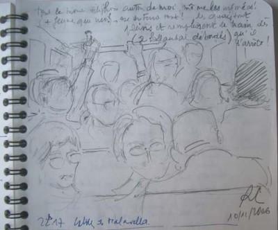 Dans le train régional Barcelona Sants/Cerbère du vendredi soir Croquis : Roland Courtot
