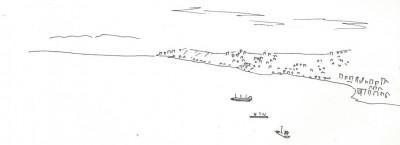3 - Vue vers le nord, les hautes collines, le front de mer urbanisé de Vina del Mar. (Croquis par Charles Le Coeur, novembre 2013)