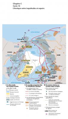 """- L'Arctique, entre inquiétudes et espoirs (Carte extraite de l'ouvrage """"La mondialisation contemporaine"""", N.Balaresque, D.Oster, Nathan, 2013)."""