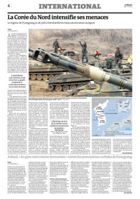 La Corée du Nord intensifie ses menaces