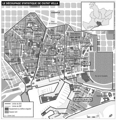 Le découpage statistique du centre ancien de Barcelone