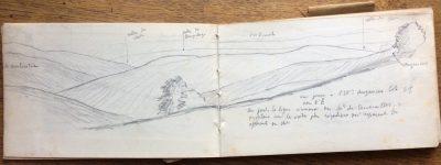 Indications sur le dessin : La Chaubourdine [?], vallée du Cher, vallée de Pampeluze, forêt de Pionsat, vallée du Cher, Auzances. (Bibliothèque Mazarine, Fonds Demangeon-Perpillou)
