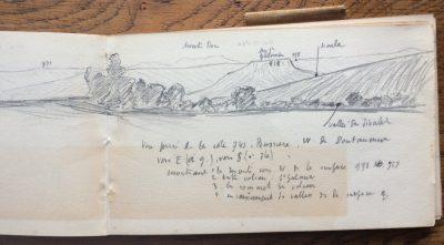 Indications sur le dessin : Sioule, 957, Puy de Dôme, 971, Monts Dore, Puy St-Gulmier 818, 978, Sioule, vallée du Sioulet. (Bibliothèque Mazarine, Fonds Demangeon-Perpillou)