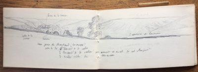 Indications sur le dessin : vallée de la Creuse, Creuse, arbres, sortie de la Creuse, dépression de Lavaveix. (Bibliothèque Mazarine, Fonds Demangeon-Perpillou)