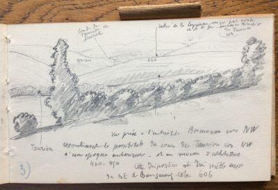 Indications sur le dessin : Taurion, 450-400, coude du Taurion à Murat, 460, vallée de la Leyrenne suivie ici par route et chemin de fer, ancienne sinuosité du Taurion 463. (Bibliothèque Mazarine, Fonds Demangeon-Perpillou)