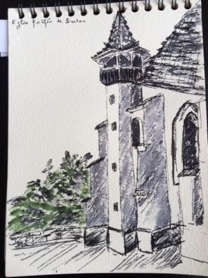 L'église fortifiée de Biertan en Transylvanie (dessin de Michèle Vignaux, juin 2015)