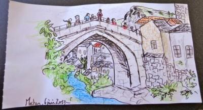 Dessin du pont de Mostar, juin 2013, crayons aquarelles et feutre noir. ©Anne Cadoret