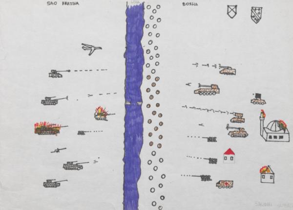Source: Subasic, Saudin, 1996, © Fonds Enfance Réseau Monde-Services. Site Enfance Violence Exil, collection 07 «Guerre en ex-Yougoslavie (1991-1995)», Fonds d'Enfants Réfugiés du Monde, en ligne: http://www.enfance-violence-exil.net/index.php/ecms/it/13/1275 Légende proposée par l'ANR Enfance Violence Exil pour ce dessin: «Bataille de blindés de part et d'autre d'une rivière qui représente la frontière. L'enfant représente les destructions dans son pays – maison et mosquée en flammes – (Bosnie), ainsi que les pertes infligées à l'ennemi dans la Krahina.»