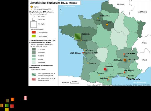 Carte n°1: Diversité des lieux d'implantation des ZAD en France