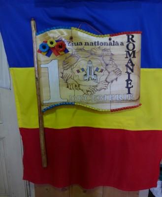 Drapeau roumain exposé dans le Musée du bois de Campulung Moldovenesc en Bucovine (cliché Daniel Oster, juin 2015)