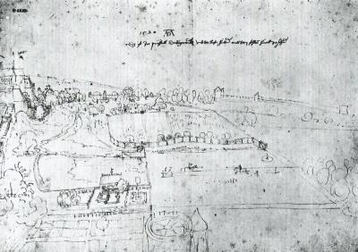 Durër (1520):Jardins royaux de Bruxelles, crayon (pointe d'argent) et encre (Akademie der Künste, Vienne)