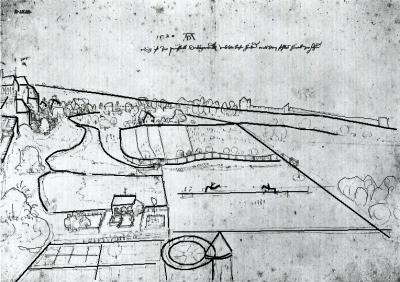 Dessin de Dürer surchargé pour en souligner la construction